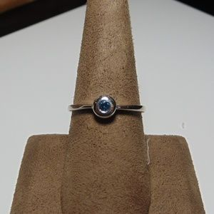 Jewelry - Sterling Silver Ring with Blue Daimond
